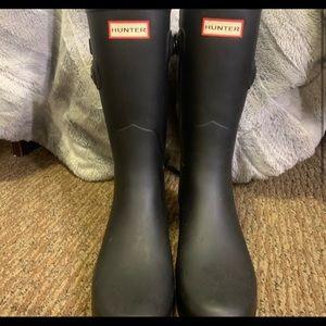 Slim matte black hunter boots